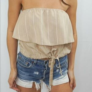 Tops - strapless tied top